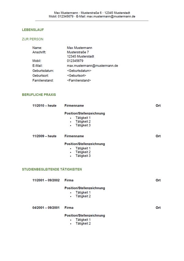 Vorlage / Muster: Lebenslauf-Vorlage 6